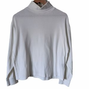 Vintage White Cotton Turtleneck Size L